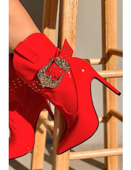 Red Pointy Toe Buckle Studded Booties by Ami Clubwear