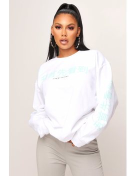 White China Text Oversized Crew Neck Sweatshirt by I Saw It First