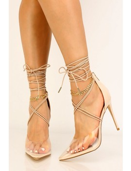 Nude Clear Strappy High Heels by Ami Clubwear