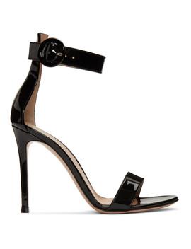 Black Patent Portofino Sandals by Gianvito Rossi