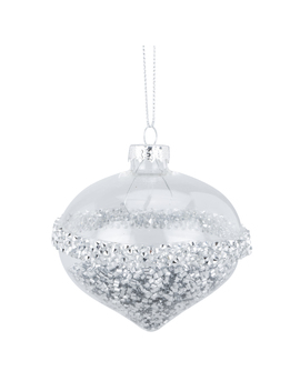 Christmas Clear Silver Glittered Strip Bauble by The Range