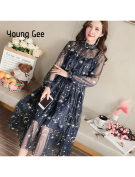Young Gee Women Spring Autumn Sexy Sheer O Neck Lace Dress Embroidery Starry Sky Sweet Party Flare Skater With Lining Dresses by Ali Express.Com