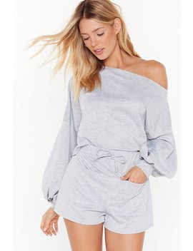 Better Off The Shoulder Sweatshirt And Short Lounge Set by Nasty Gal