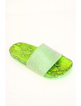 Neon Green Rhinestones Snake Print Sandals by Ami Clubwear