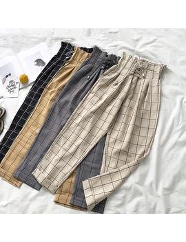 2019 Female Trousers Harajuku Casual Pants Women Lace Up High Waist Harem Pants Spring Streetwear High Waist Plaid Pants Female by Ali Express.Com