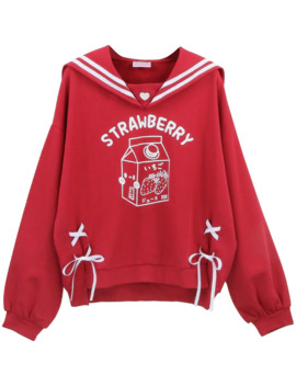 Lolita Sweet Women Red Sweatshirt Japanese Kawaii Strawberry Cat Graphic Girls Lace Up Female Cute Anime Warm Fleece Hoodies by Ali Express.Com