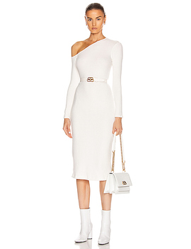 Sweater Knit Angled Neck Midi Dress by Enza Costa