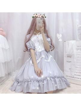 Summer Japanese Lolita Vintage Dress Lolita Dress Female Soft Girl Wind Cute Fungus Lace Dress Short Sleeve Dress Cute by Ali Express.Com