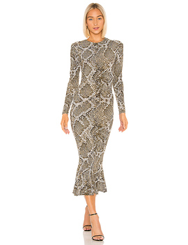 Crew Fishtail Dress In Scale Python by Norma Kamali