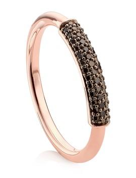 18 K Rose Gold Vermeil Fiji Bar Stacking Ring   Black Diamond   0.12 Ctw by Monica Vinader