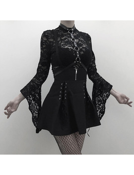 Women 2 Piece Set Gothic Black Sexy Lace Body Bodysuit Pleated Skirts Two Piece Sets Lace Up See Through Clubwear Girl Sets by Ali Express.Com