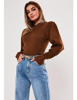 Tobacco Rib High Neck Balloon Sleeve Jumper by Missguided