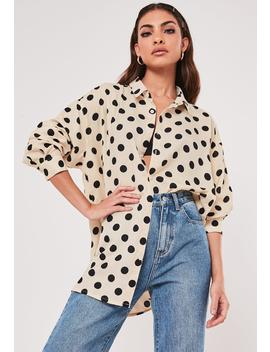 Nude Polka Dot Extreme Oversized Satin Shirt by Missguided