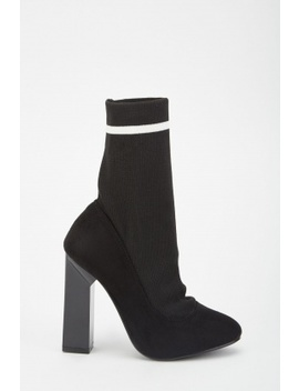 Ribbed Sock Overlay Heeled Boots by Everything5 Pounds