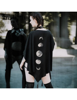 Ins Goth Black Capes Coat Vintage Moon Print Gothic Loose Women Batwing Duplex Shawl Long Sleeve Cape Autumn Female Outerwear by Ali Express.Com