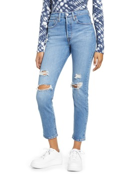 501 High Waist Ripped Ankle Skinny Jeans by Levi's