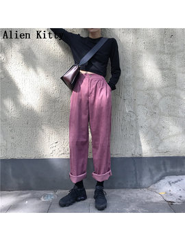 Alien Kitty Autumn Women Elastic High Waist Straight Pants Solid High Quality Casual Pants Women Simple Comfortable Trousers by Ali Express.Com