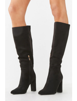 Faux Suede Calf High Boots by Forever 21