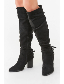 Slouchy Knee High Bow Boots by Forever 21