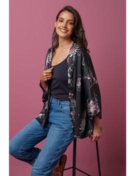 Black Floral Kimono by Next