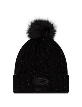 Women's New Era Black Green Bay Packers Cuffed Knit Hat With Fuzzy Pom by New Era