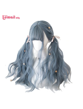 L Email Wig Long Blue Mix Grey Lolita Wigs Dusty Blue Wavy Harajuku Cosplay Wig Heat Resistant Synthetic Hair Halloween by Ali Express.Com