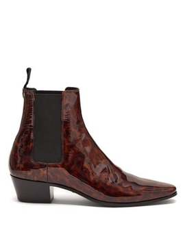 Dylan Tortoiseshell Patent Leather Chelsea Boots by Saint Laurent