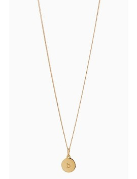 Sterling Silver 18 Carat Gold Plated Engraved Initial Disc Necklace by Next