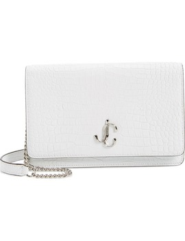 Palace Croc Embossed Leather Clutch by Jimmy Choo