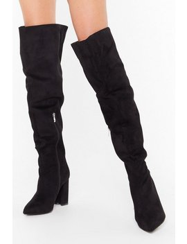 Looks Like We Faux Suede It Wide Fit Boots by Nasty Gal