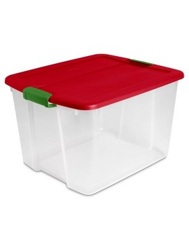 Sterilite 66qt Latch Tote Clear With Red Lid And Green Latch by Sterilite