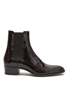 Wyatt Patent Leather Chelsea Boots by Saint Laurent