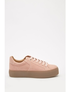 Chunky Suedette Lace Up Trainers by Everything5 Pounds