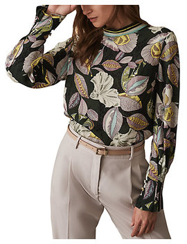 Reiss Flora Floral Print Top by Reiss