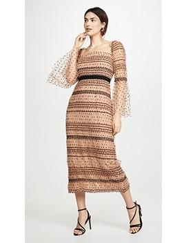 Shirred Polka Dot Midi Dress by Self Portrait
