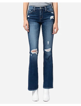 Flying Monkey Mid Rise Ripped Bootcut Jeans by Express