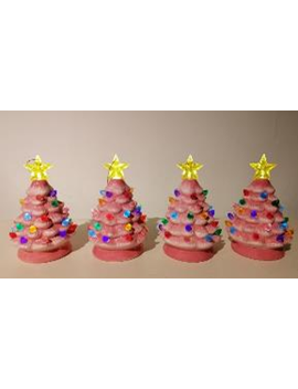 "Set Of 4   5.5"" Nostalgic Trees Pink by Mr. Christmas"
