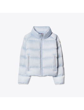 Cropped Performance Satin Down Jacket by Tory Burch
