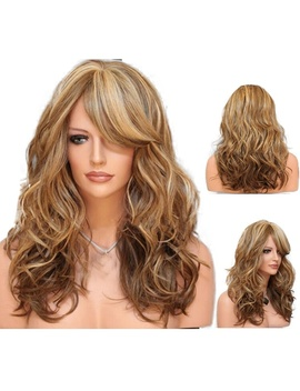 60cm Women's Heat Resistant Hair Blonde Long Curly Full Wig by Wish
