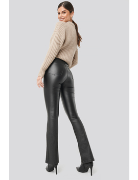 Waxed Flared Pants Black by Na Kd
