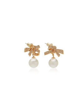 Gold Tone Brass, Crystal And Pearl Bow Drop Earrings by Fallon