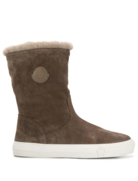 Logo Patch Mid Calf Boots by Moncler