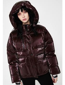 Red Mont Blanc Metallic Puffer Jacket by Blanc Noir