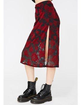 Romantic Rose Flock Saika Skirt by Motel