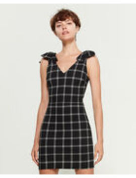 Black & White Plaid Bow Shoulder Mini Dress by Necessary Objects