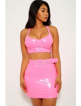 Hot Pink Latex Sleeveless Two Piece Party Dress by Ami Clubwear