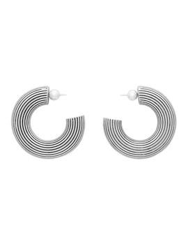 Silver Large Column Hoop Earrings by Sophie Buhai