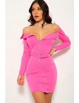 Fuchsia Off The Shoulder Party Dress by Ami Clubwear
