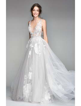Galatea Embroidered V Neck Tulle Wedding Dress by Willowby