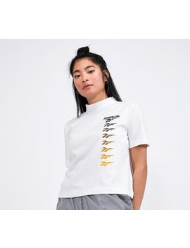 Womens Classic Vector Crop Top | White / Yellow by Reebok